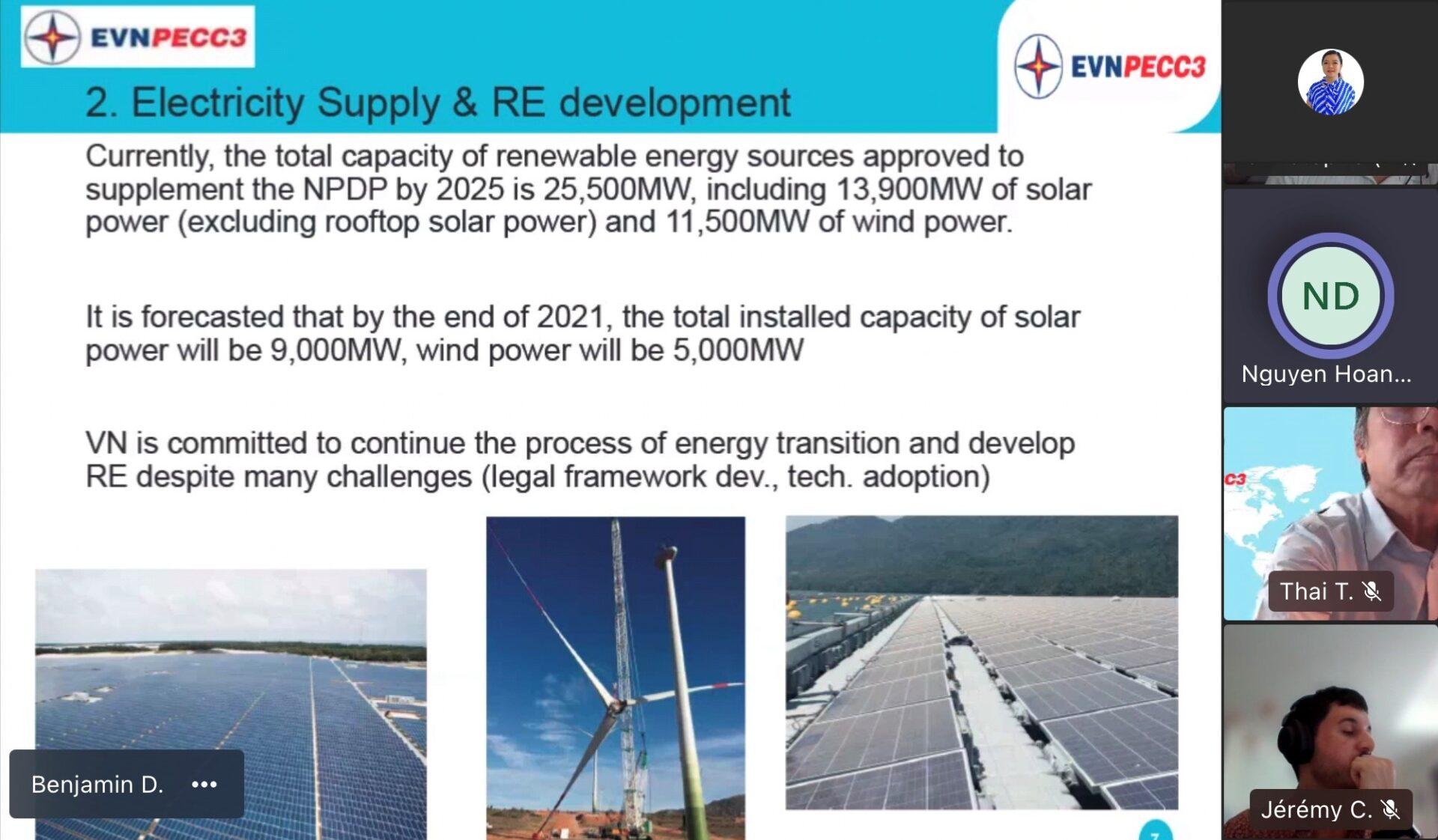 Một thông tin trong bài trình bày của ông Nguyễn Hoàng Dũng – Trưởng phòng Năng lượng tái tạo PECC3